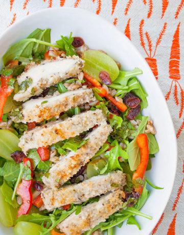 Crispy Chicken and Farro Salad | brightrootskitchen.com