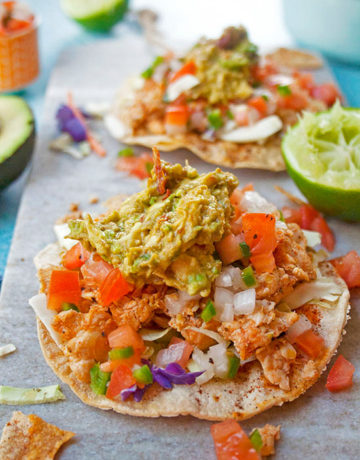 Chicken Tostadas with chipotle guacamole| brightrootskitchen.com
