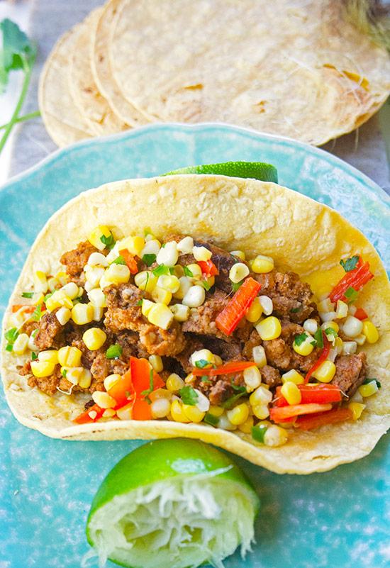 Best Tacos with Homemade Turkey Chorizo Sausage| brightrootskitchen.com