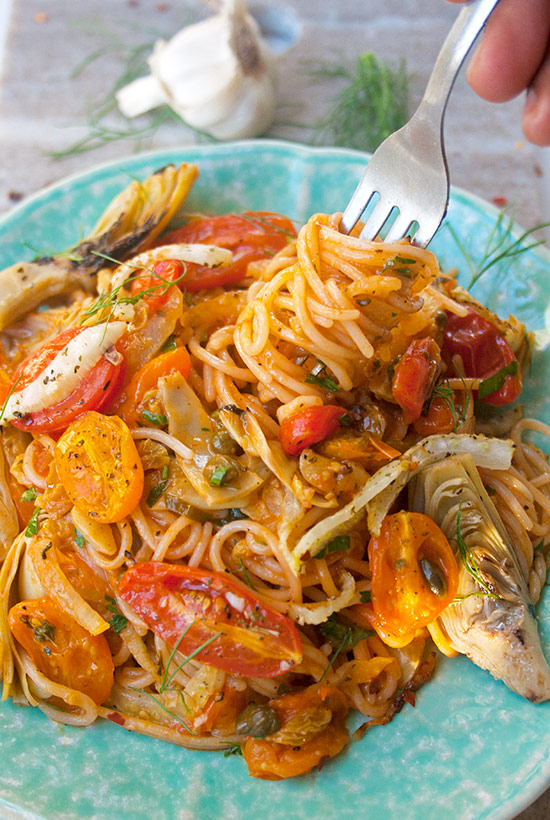 Garlicky Spaghetti with Roasted Tomatoes  brightrootskitchen.com