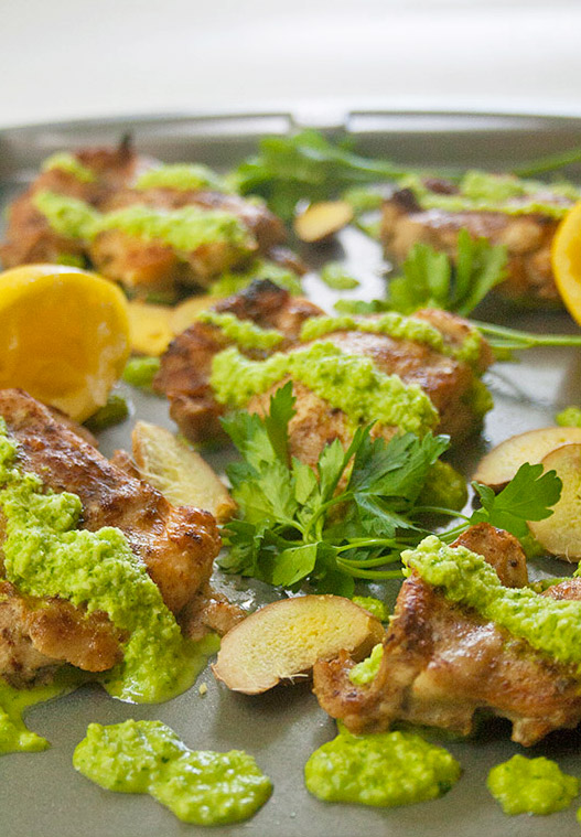 Baked Chicken Thighs-with Ginger Green Sauce| brightrootskitchen.com