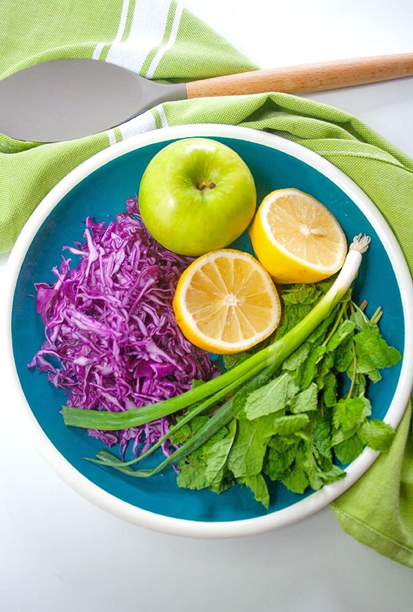 Purple cabbage, apple and mint slaw | brightrootskitchen.com