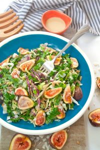 Fig and kale salad| brightrootskitchen.com