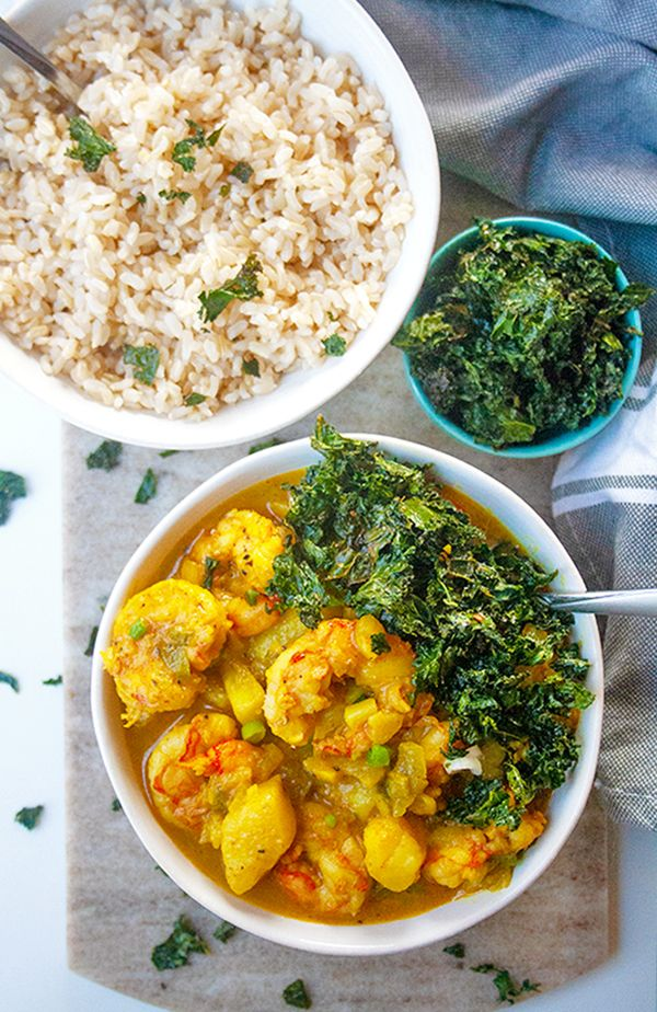Curry Shrimp with Crispy Kale| brightrootskitchen.com